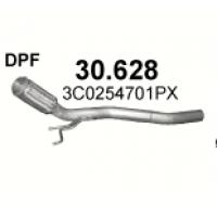 Труба приемная без DPF Фольксваген Пассат (VW Passat) / Ауди А3 (Audi A3) / Сеат Альтеа (Seat Altea , Toledo , Leon) 1.9D/2.0D 04- (30.628) Polmostrow алюминизированный Polmostrow